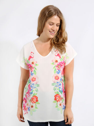 Sourced By Lovedrobe Flamingo Print Grown On Sleeve T-Shirt White Multi
