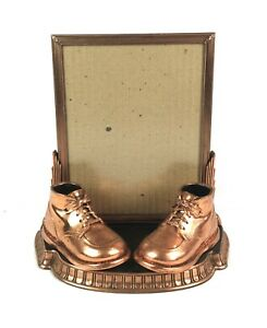 Vintage-Mid-Century-Art-Deco-Copper-Plated-Baby-Boot-Shoe-Picture-Photo-Frame