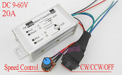 DC9-60V 20A PWM DC Motor Speed Control Controller CW CCW Reversible Pulse Driver