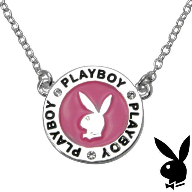 Playboy Necklace Silver Pendant Chain Bunny Charm Pink Enamel Swarovski Crystal