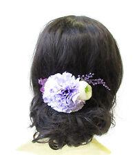 Large Lilac Light Purple Ivory Carnation Flower Hair Comb Headpiece Bridal 1666