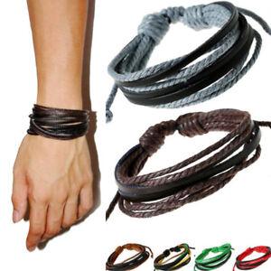 Mens-Handmade-Multilayer-Leather-Braided-Surfer-Wristband-Bracelet-Bangle-Wrap