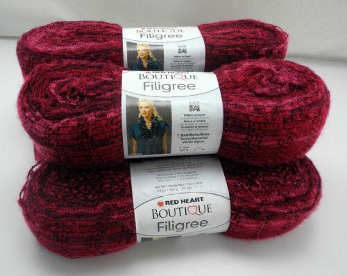 Color Jubilee//Burgundy Red Heart Boutique Filigree Super Bulky Yarn 5 Skeins