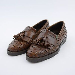 Image is loading COLE-HAAN-Brown-Leather-Woven-Tassel-Loafers-Flat-