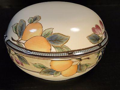 "Mikasa Garden Harvest Large Box Sugar Bowl with Lid 4 1/2"" intaglio CAC29 MINT!"