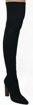 Kate Stretch Knit Over Knee Thigh High Block Heel Pointy Toe Pull On Boot Black