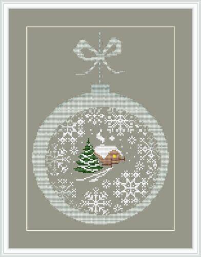 Stickvorlagen zum Auswahl Weihnachtskugel 2 Muster farbig sticken
