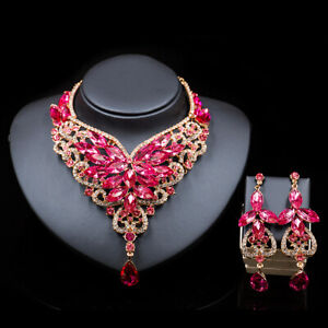 Fashion-Crystal-Costume-Wedding-Jewelry-Sets-Brides-Prom-Party-Necklace-Earring