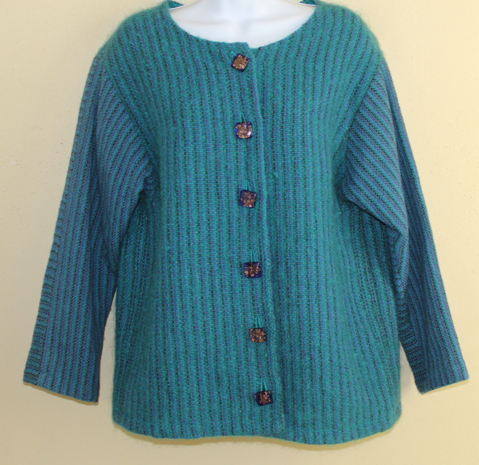 Opalessence Fibra tejida  a mano Art para llevar Cerceta Azul artista Enjoyado Chaqueta Sz S M  en venta en línea