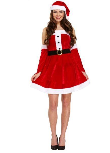 Damen 4 Stück Sexy Miss Mrs Santa Weihnachten Kostüm Outfit + Handschuhe
