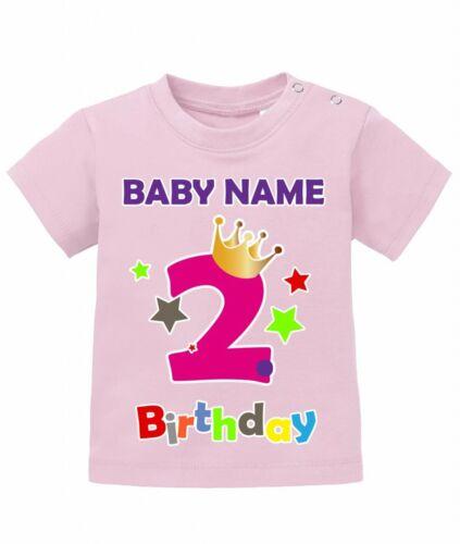 2 Geburtstag mit Wunschname Birthday mit Kindername 92//98 Baby Mädchen Shirt