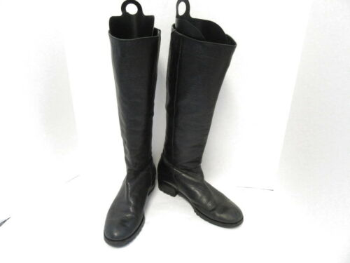 DVF DIANE VON FURSTENBERG BLACK LEATHER KNEE HIGH