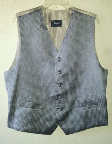 Made Sharp Bue Silver 44lVest Italy 54us In Vtg Silk Maat Bogart rstQdCBxh