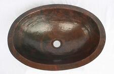 "19"" Oval Flat Edge Hand Hammered Copper Bathroom Sink"