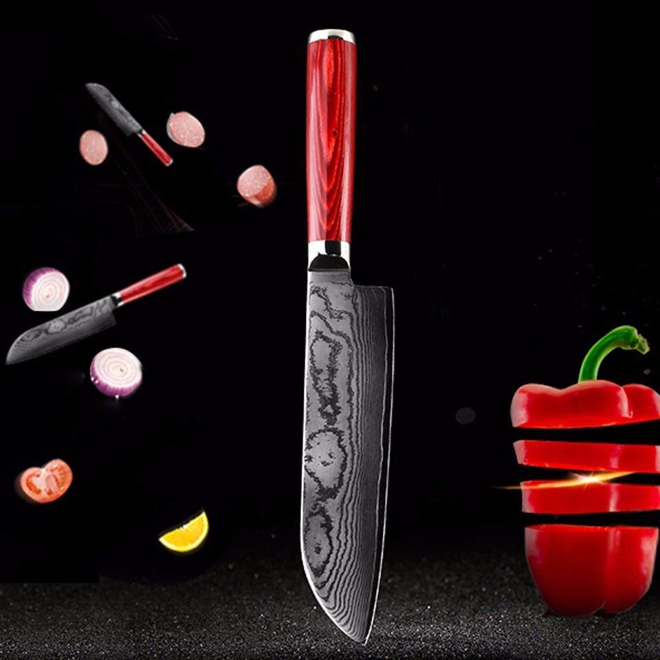 67 couches damassé couteau de cuisine japonais 7  pouces chefs Couteau Manche Bois Knife