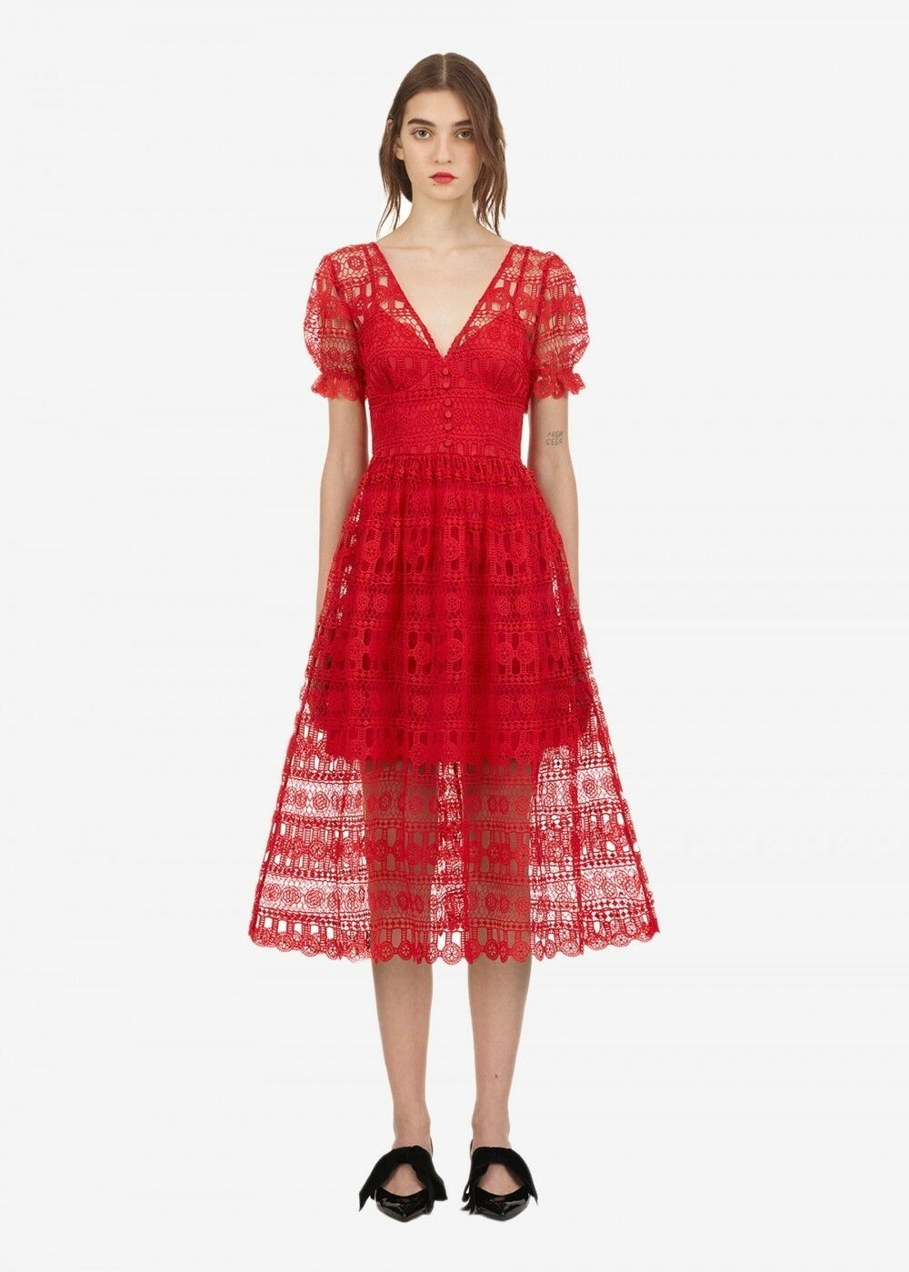 Self Portrait Red Lace Dress Us 8 Eu 40
