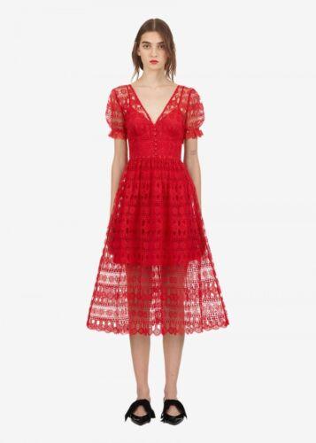 Self Portrait Red Lace Dress Uk 12 Us 8 Eu 40