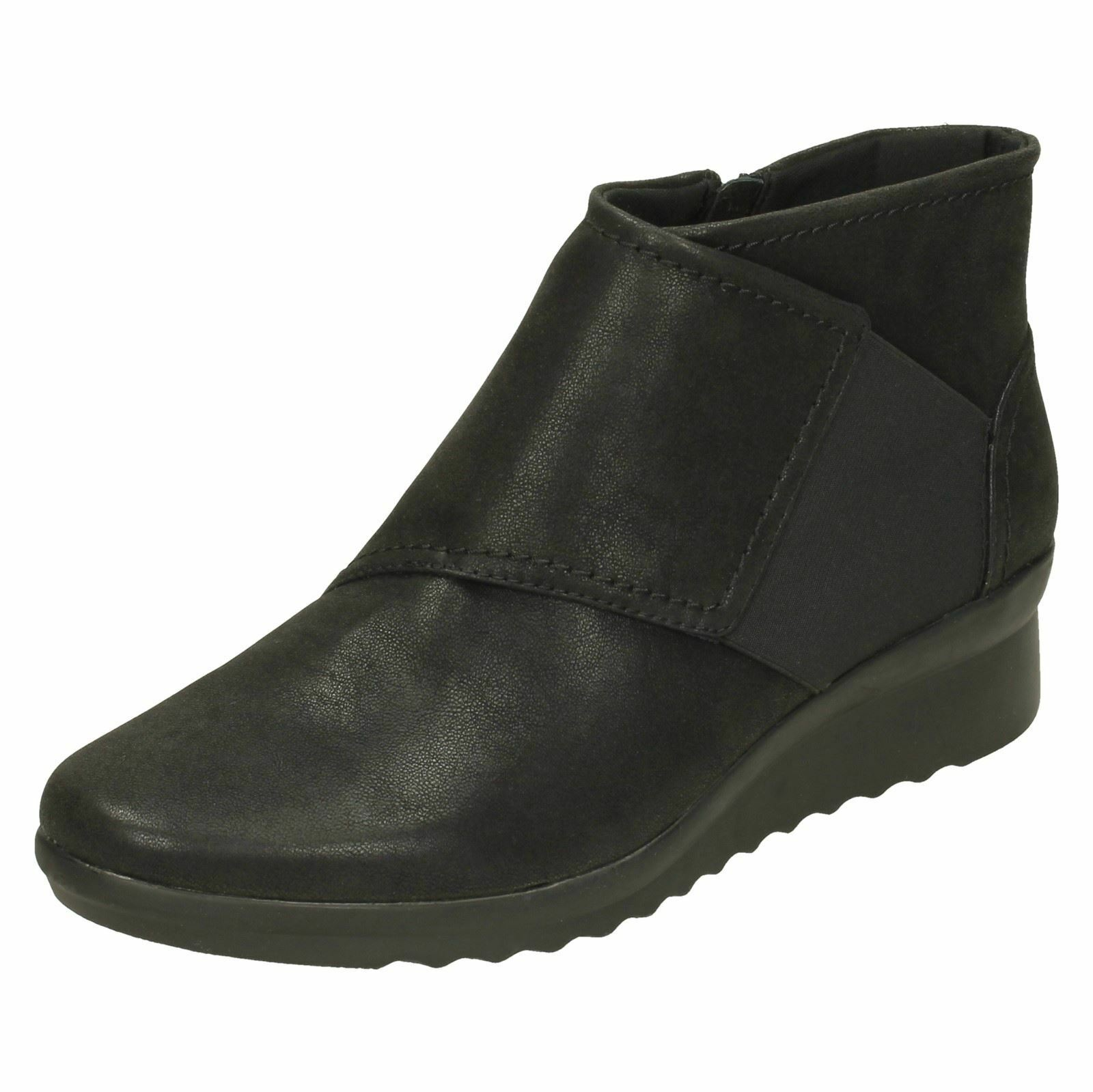 CLARKS Caddell Rush Damenschuhe Cloudsteppers Wide Fit E Wedge Ankle Boot