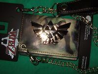 Nwt The Legend of Zelda Metal Triforce Twilight Princess Tri Fold Wallet & Chain