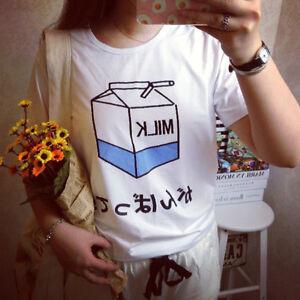 Women-Summer-Harajuku-Cute-Milk-Print-Loose-T-Shirts-Basic-Tee-Tops-Shirt-CHIC