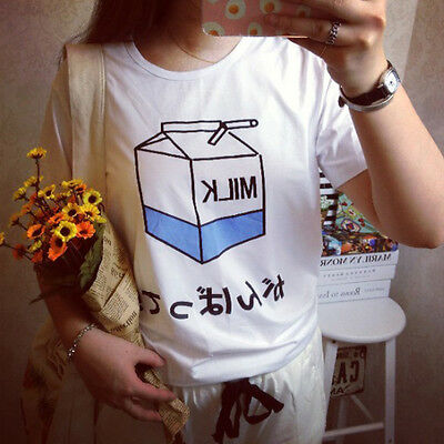 New Women Summer Harajuku Cute Soft Milk Print Loose T-Shirts Basic Tee Tops JX