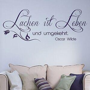 Details zu Wandtattoo Sprüche Lachen ist Leben Oscar Wilde Blumenranke  Wohnzimmer Flur 6t