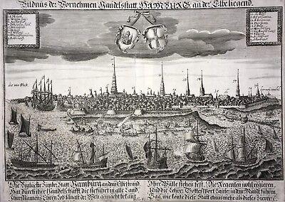 Gut Ausgebildete Bildnus Der Vornehmen Handelsstatt Hamburg - David Funck 1680 - Original - Rar HüBsch Und Bunt