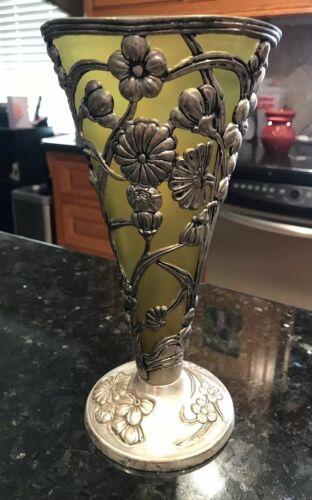 GREEN-Vintage Art nouveau vase Cased Silver Victorian floral overlay Flower Vase