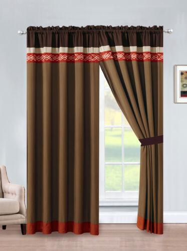 4-Pc Rania Geometric Embroidery Curtain Set Rust Orange Brown Beige Mocha Sheer