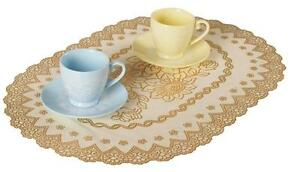 Set-Gold-Oval-Floral-Dining-Table-Mats-PVC-Placemats-Elegant-Sparkle-Holiday-NEW