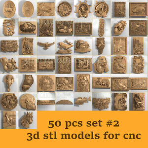 50 pcs set #2 3d stl model for CNC Router Artcam Aspire