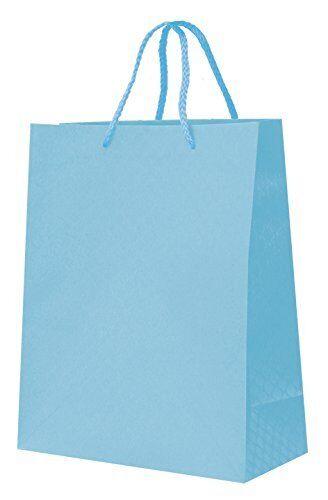 "Paper Gift Present Bag Medium /""BLUE/"" SHINE KRAFT PASTEL Elegant Eco by PAW"