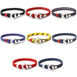 Bracciale-ancora-tono-argento-corda-da-braccialetto-uomo-donna-con-cordino-navy