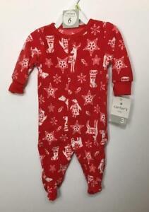 0e4366845 NWT CARTER S Red PAJAMA Christmas Reindeer 3 Months Sleep   Play ...