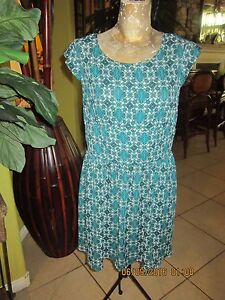 Turquoise-amp-White-Dress-gt-Light-Weight-gt-Size-L-gt-Forever-21-gt-open-Down-Back-gt-POCKETS