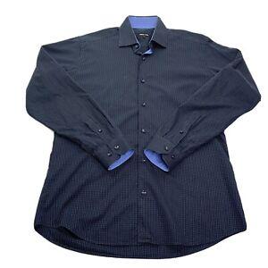Jared-Lang-Men-s-Button-Front-Dress-Shirt-Black-Blue-Dots-Flip-Cuffs-Medium