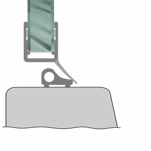Schwallprofil Duschdichtung Duschprofil Wasserabweiser 1m 4-8mm Glasstärke