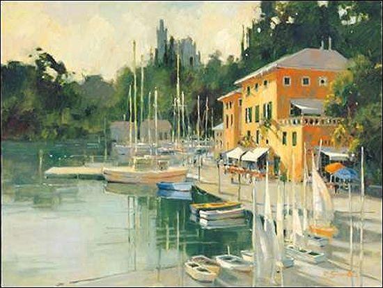 Marilyn Simandle  Portofino Heights Keilrahmen-Bild Leinwand Italien Küste Hafen