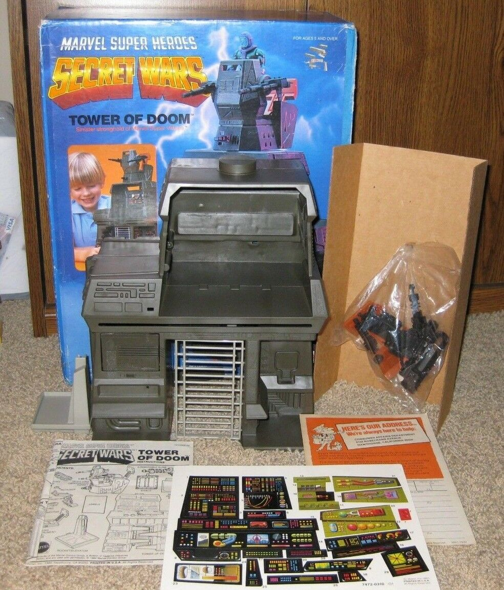 1984 Marvel Secret Wars Torre de Doom Conjunto de Juego Nuevo en Caja Mattell