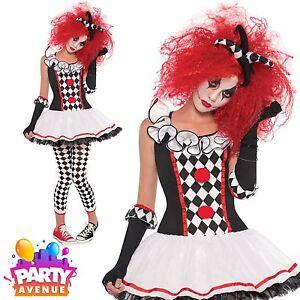 Image is loading Girls-Harlequin-Honey-Clown-Halloween-Costume-Fancy-Dress-  sc 1 st  eBay & Girls Harlequin Honey Clown Halloween Costume Fancy Dress Outfit | eBay