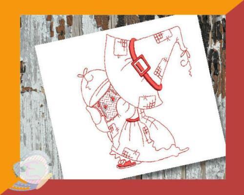 Sunbonnet Calendar Redwork Machine Embroidery Design Set