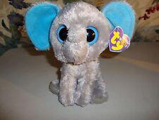 "TY Beanie Boos 6"" Peanut The Elephant Plush 2011 Retired Solid Blue Eyes"