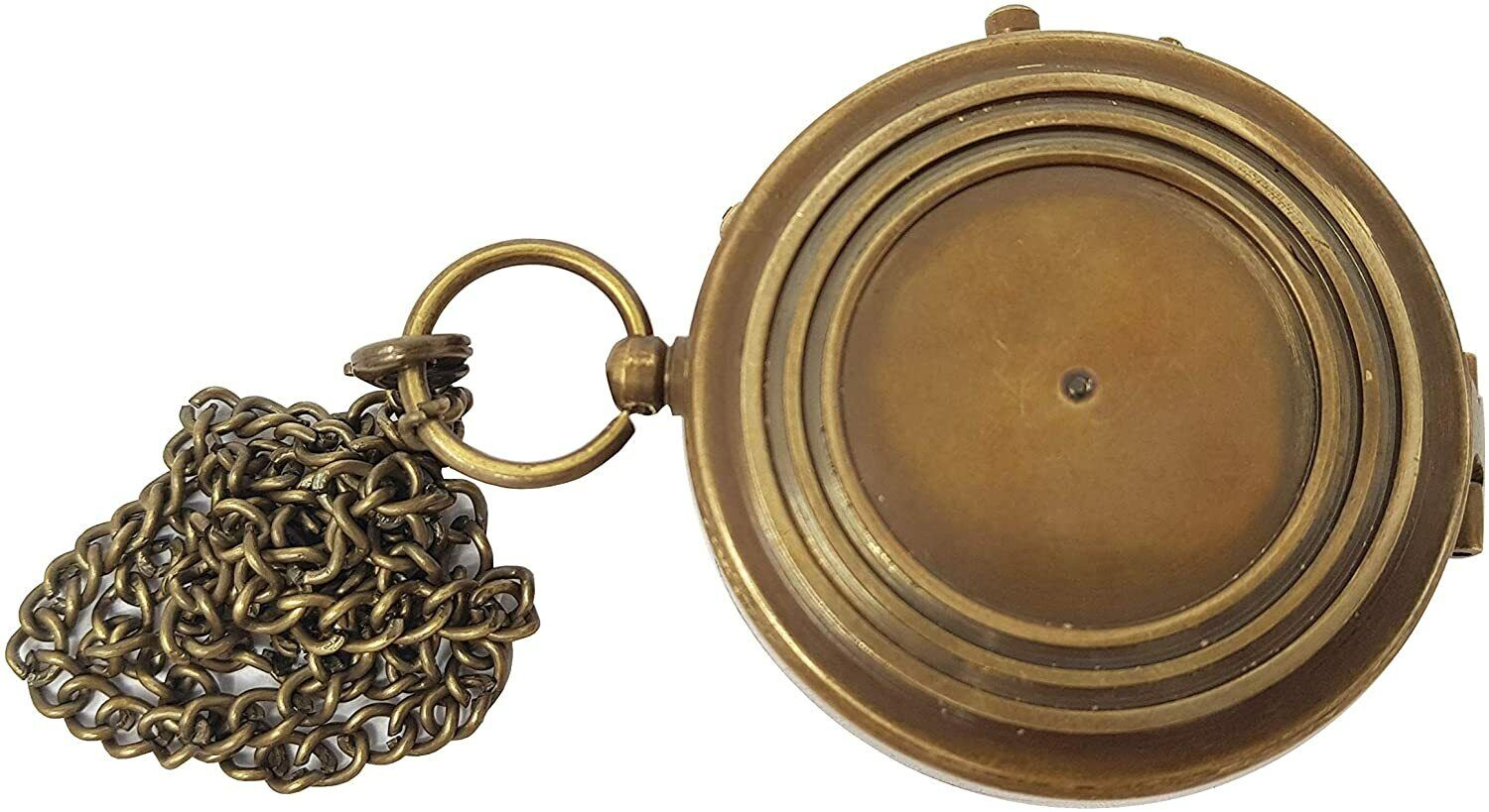 Antique Brass Compass Nautical Pocket Backpacking Compass Leather Case Vintage