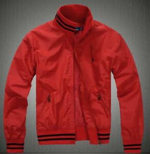 POLO Ralph Lauren Windbreaker Men s Luxury Jacket in Red. Winter ... 2e73815a847