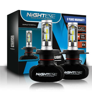 Nighteye-2X-H4-9003-HB2-LED-Headlight-Bulbs-Replace-Halogen-HID-White-50W-8000LM