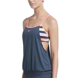 Details zu Nwt Damen Nike Sport Streifen 2 in 1 Tankini Top Größe Wählen Monsoon Blau