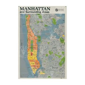 NEW YORK CITY MCM MAP/POSTER WALL ART POSTER Mid Century Modern Decor EXCLUSIVE