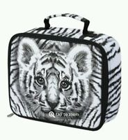 Justice Black White Tiger Lunch Zip Insulated Lunch Bag Box Tote Photo Real