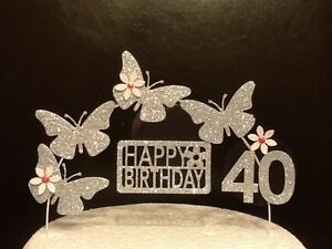 Silver Birthday Cake Decoration Great Gift For Daughter Mum Gran Friend Sister