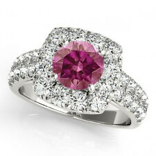 1.50 Carat Pink VS2 & White Diamond  Halo Ring 14k WG Valentine Day Spl. Sale